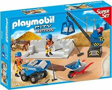 "playmobil City Life N° 6144 Superset "" Baustelle "" Fahrzeuge, Kran, Bauarbeiter"