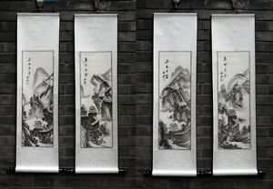 Chinese print scroll painting Great Wall in snow a set of 4 gongbi landscape art