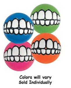 Grinz Balls For Dogs Funny Grinning Toy Smiling Teeth Rubber One Hollow Ball