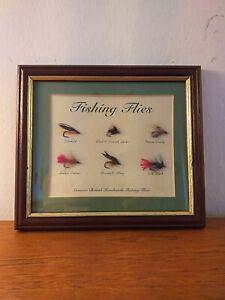 Framed Fishing Flies for collectors 6 x Flies handmade
