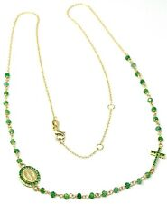 18K YELLOW GOLD ROSARY NECKLACE, FACETED EMERALD ROOT, CROSS & MIRACULOUS MEDAL
