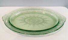 "Rare Oval 11-3/4"" Lime Green Depression Glass Oval Serving Platter Etch Design"