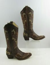 Ladies Circle G Brown Distressed Leather Western Cowgirl Boots Size: 6 M