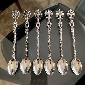 ANTIQUE Vintage SILVER Plate ITALIAN Baroque FLEUR De LIS Ornate PARFAIT Spoons