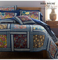 3PCS Country Floral 100% COTTON Patchwork Quilt Coverlet Bedspread KING Set