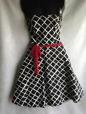 RUBY ROX Rockabilly Dress Black White A-line Crinoline Hem Slip Size 5 Red Belt