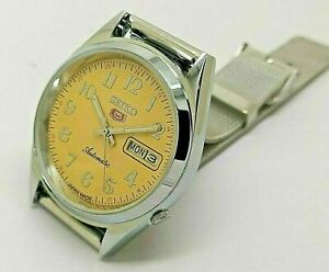 seiko 5 automatic men's steel yellow day/date dial vintage japan watch run