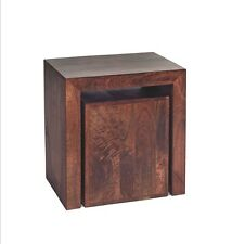 Nest Mango Dark Cube Nest of 2 Tables Indian Furniture [ML03]