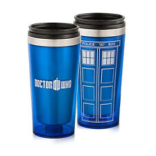 New Doctor Who Tardis 16 oz. Mug Stainless Steel Water Bottle Travel Cup Blue