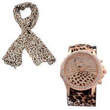 Designer Taupe Leopard Watch With Scarf 100% Viscose Genuine Austrian Crystals
