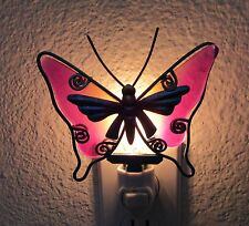 Night Light- Butterfly  Metal/Glass - pink blue yellow Hand painted Art