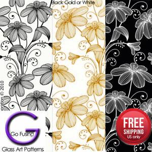Flower Fusing Glass Decal Ceramic Waterslide Enamel-Black-White-Gold Metallic