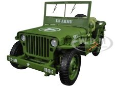 US ARMY WWII JEEP GREEN 1/18 DIECAST MODEL CAR BY AMERICAN DIORAMA 77404