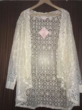 Michelle Hope Ivory Lace Cardigan cover up  size 26/28 Brand new tags
