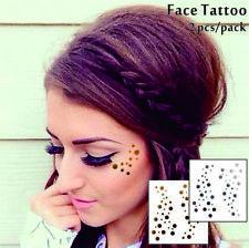 Gesicht Augen Tattoo Aufkleber Temporäre Tattoos 2er Packung f08 Gold & SILBER