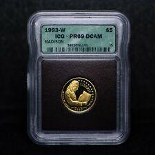 1993-W $5 James Madison Commemorative Gold Coin ICg PR69 DCAM (slx3783)