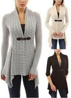 Women Long Sleeve Asymmetrical Buckle Braid Knitted Cardigan Outwear Jacket Shan