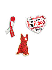 Pinmart S Red Dress Heart Disease Awareness Ribbon Enamel Lapel Pin Set