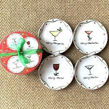 "Whimsy Ware Merry Sloshmas Set Of 4 Christmas Appetizer Plates 6 1/2"" In Box Euc"