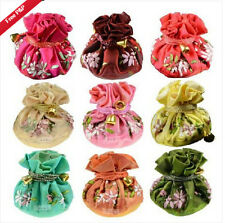 Wholesale 10pcs Chinese Handmade Vintage Silk Embroidered Jewelry Roll Pouch Bag