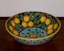 "Deruta Italian Pottery GEOMETRIC LEMON PEACOCK 12"" BOWL"