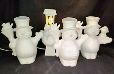 "Clay Magic - 8.5""  3 Snowmen-Electric Lamp Light - Ready to Paint Ceramic Bisque"