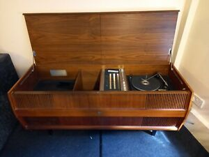 HMV Radio gram / record player, vintage / antique, housed in a wooden cabinet