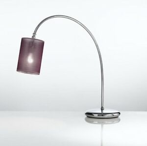 Bedside Lamp Lumetto Classic Chrome With Lampshade Purple