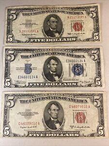 1934 A Silver Certificate - 1953 B & 1963 - $5 bill - US NOTE - LEGAL TENDER