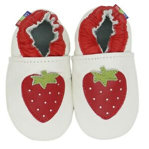 carozoo strawberry white 6-12m soft sole leather baby shoes