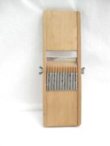 "Traditional wood mandolin slicer shredder  Full size 14""  Crinkle and plain cut"