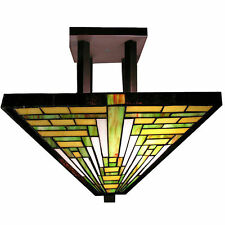 Tiffany Style Mission Ceiling Lamp Glass Bronze Light Fixture Hanging Chandelier