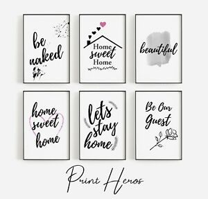 Living Room Prints Modern Stylish Home Wall Art Quotes Home Frameless Decor Gift