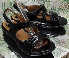 CLARKS BLACK LEATHER SLINGBACK SANDALS OPEN TOE DRESS SHOES US WOMENS SZ 9 XW