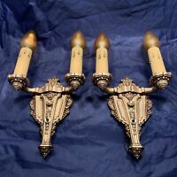 Pair Antique Riddle Co Sconces Polychrome Finish Great!! 3A