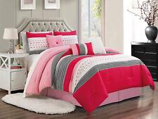 7-P Jasper Pleated Stripe Embossed Square Comforter Set Hot Pink Ivory Gray King