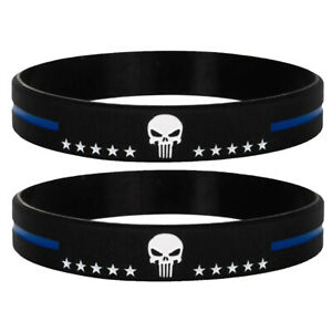 Thin Blue Line Silicone Bracelet Punisher with Stars Wristband Police Support