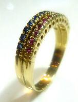 Toller Ring in 333 Gold mit Saphir Rubin 56 (17,8 mm Ø) Saphirring Rubinring