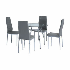 Modern Dining Furniture Set 4 Person Chairs Padded Seat Round Glass Table Grey