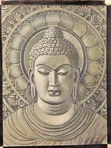 FINE ART BUDDHA PORTRAIT IN GREY ORIG CANVAS  WATER COLOR PAINTING UNFRAMED