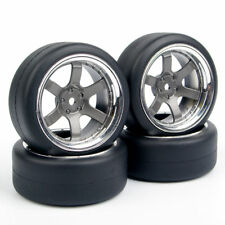4x 1:10 RC HSP HPI On-Road Car Flat Drift Rubber Tires Wheel Hubs Set 6mm offset
