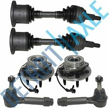 6PC Kit: 2 Front CV Axle Shaft + 2 Tie Rods + 2 Wheel Hub and Bearing 4WD w/ ABS