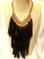 Statement Chunky Long Big Large Gold Black Tassels Multi Layered Chain Necklace