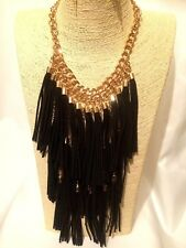 Womens Statement Long Gold Chain Bib Necklace Black Layered Tassels Gothic