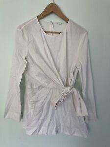COS white crisp cotton wrap tie up long sleeve rear zip up top 44 10