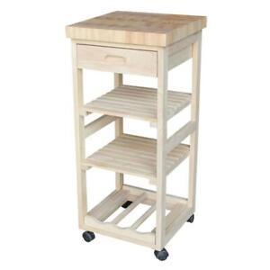 Kitchen Cart w Drawer Butcher Block Top 4 Castors Sturdy Durable Unfinished