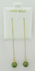 GENUINE PEARL DANGLING EARRINGS 14K YELLOW GOLD *NEW WITH TAG*
