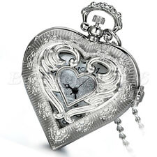 Womens Angel Wing Hollow Heart-shaped Quartz Pocket Watch Necklace Womens Gift