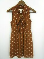 Lush Women's Brown Cognac with Cream Dots Sleeveless Dress Size S