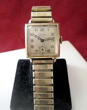 MENS CROTON THIN-ESTE 10K GOLD FILLED SQUARE MECHANICAL WATCH RUNS GREAT